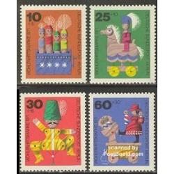 4 عدد تمبر رفاه اجتماعی - اسباب بازیهای چوبی - آلمان 1971
