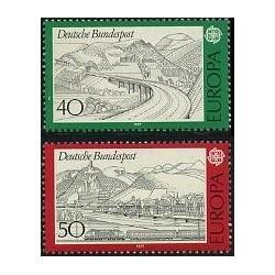2 عدد تمبر دورنمای اروپا - آلمان 1977