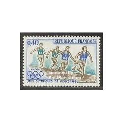 1 عدد تمبر بازیهای المپیک مکزیکو - فرانسه 1968