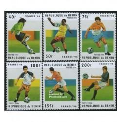 6 عدد تمبر جام جهانی فوتبال فرانسه - بنین 1996