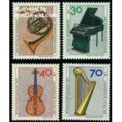 4 عدد تمبر رفاه اجتماعی - ادوات موسیقی - آلمان 1973