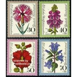 4 عدد تمبر رفاه اجتماعی - گلها  - آلمان 1974