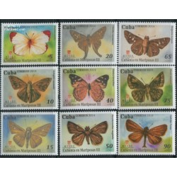 9 عدد تمبر پروانه ها - کوبا 2014