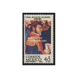 1 عدد تمبر ژنرال آلنده - کاپیتان اسپانیائی - مکزیک 1969