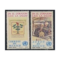 2 عدد تمبر ماه جهانی قلب - مکزیک 1972