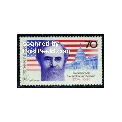 1 عدد تمبر دویستمین سالگرد بیانیه استقلال  آمریکا - کارل شورز - سیاستمدار - جمهوری فدرال آلمان 1976