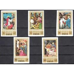 5 عدد تمبر تابلو نقاشی حضرت عیسی - بیدندانه -  عمان