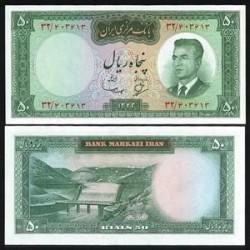 128 - اسکناس 50 ریال عبدالحسین بهنیا - مهدی سمیعی 1343 دوره اول - تک