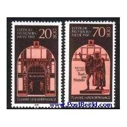 2 عدد تمبر نمایشگاه بهاره لایپزیک - آلمان 1988