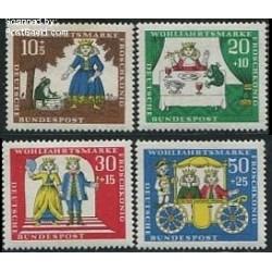 4 عدد تمبر رفاه اجتماعی - افسانه پریان - آلمان 1966