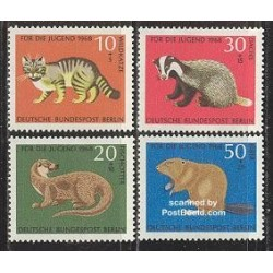 4 عدد تمبر جوانان - حیوانات - برلین آلمان 1968