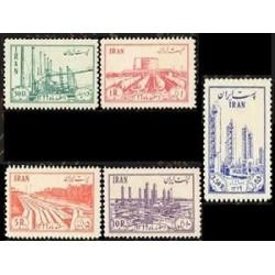 910 - 5 عدد تمبر ملی شدن صنعت نفت در ایران 1331 تک