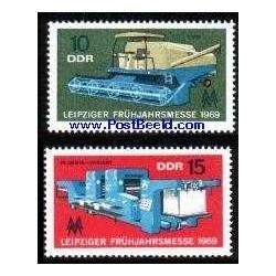 2 عدد تمبر نمایشگاه بهاره لایپزیک - جمهوری دموکراتیک آلمان 1969