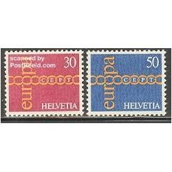 2 عدد تمبر مشترک اروپا - Europa Cept - سوئیس 1971