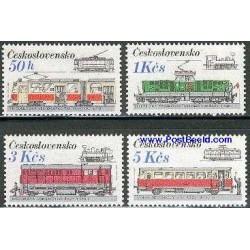 4 عدد تمبر راه آهن - لوکوموتیوها - چک اسلواکی 1986