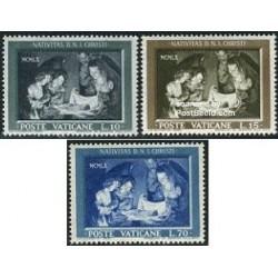3 عدد تمبر تابلو - کریستمس - واتیکان 1960