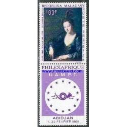 1 عدد تمبر تابلو با تب -  قیلکس آفریقا - ماداگاسکار 1969