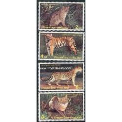 4 عدد تمبر گربه سانان - تایلند 1998
