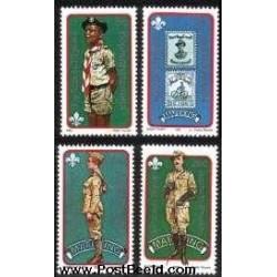 4 عدد تمبر 75 امین سالگرد پیشاهنگی - بوتاتسوانا - آفریقای جنوبی 1982