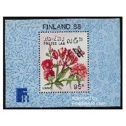 سونیرشیت فنلاندیا - نمایشگاه تمبر فنلاند - گلها - لائوس 1988