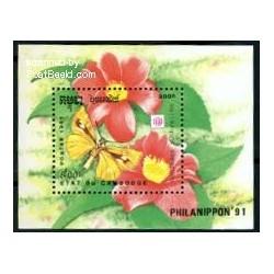 سونیرشیت فیلانیپون - نمایشگاه تمبر ژاپن - گلها - کامبوج 1991