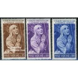 3 عدد تمبر تابلو - کاترینای سی نا - واتیکان 1962