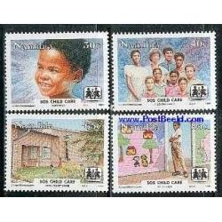 4 عدد تمبر دهکده کمک به کودکان - نامیبیا 1993