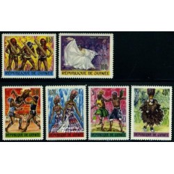 6 عدد تمبر رقصهای سنتی - جمهوری گینه 1966