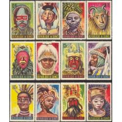 12 عدد تمبر رقصهای سنتی - جمهوری گینه 1966