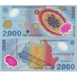 اسکناس پلیمر 2000 لی -یادبود خورشید گرفتگی  - رومانی 1999