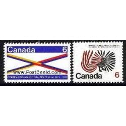 2 عدد تمبر مراکز استانها  - مانیتوبا - کانادا  1970