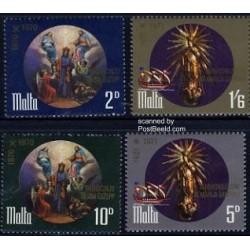4 عدد تمبر مذهب - تابلو نقاشی - مالت 1971