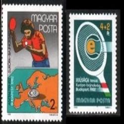 2 عدد تمبر مسابقات تنیس روی میز - مجارستان 1982