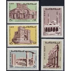 5 عدد تمبر بناهای قدیمی - سوریه 1968