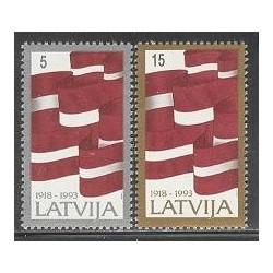 2 عدد تمبر 75 امین سالگرد لتونی - لتونی 1993