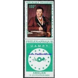 1 عدد تمبر تابلو با تب - فیلکس آفریقا - رواندا 1969