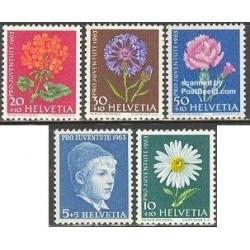 5 عدد تمبر جوانان - گلها - سوئیس 1963