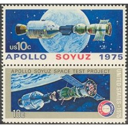 2 عدد تمبر آپولو سایوز - تمبر مشترک با شوروی - آمریکا 1975