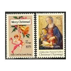 2 عدد تمبر کریستمس - آمریکا 1975