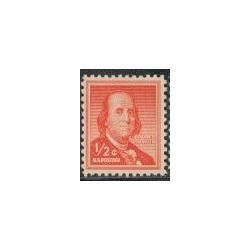 1 عدد تمبر سری پستی - بنجامین فرانکلین - آمریکا 1954