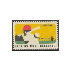 1 عدد تمبر بیسبال - آمریکا 1969