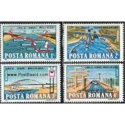 4 عدد تمبر کانال دریای سیاه و دانوب - رومانی 1985