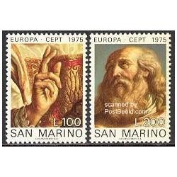 2 عدد تمبر تابلو نقاشی - تمبر مشترک اروپا - Europa Cept - سان مارینو 1975
