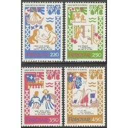 4 عدد تمبر آوزهای رقص قرون وسطی - جزایر فارو 1982