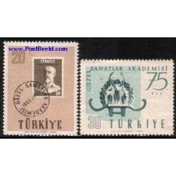2 عدد تمبر آکادمی هنر - ترکیه 1957