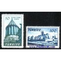 2 عدد تمبر مقبره مولانا جلال الدین رومی - قونیه - ترکیه 1957