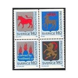 4 عدد تمبر نشانهای دولتی استانی - سوئد 1982
