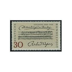 1 عدد تمبر ریچارد واگنر - موسیقیدان و رهبر ارکستر - جمهوری فدرال آلمان 1968