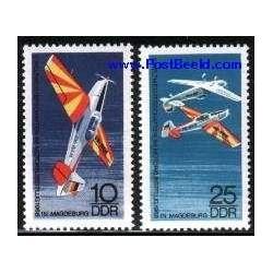 2 عدد تمبر پرواز هنری - هواپیماها - جمهوری دموکراتیک آلمان 1968