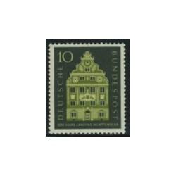 1 عدد تمبر ورتمبرگ - یکی از ایالتهای آلمان - جمهوری فدرال آلمان 1957